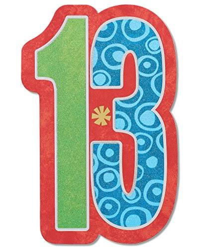 American Greetings 13th Birthday Card with Glitter