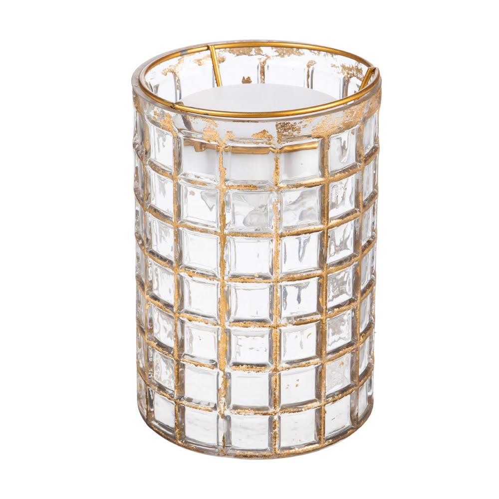 Light-n-motion Gold Distressed Mosaic Cylinder LED Decor
