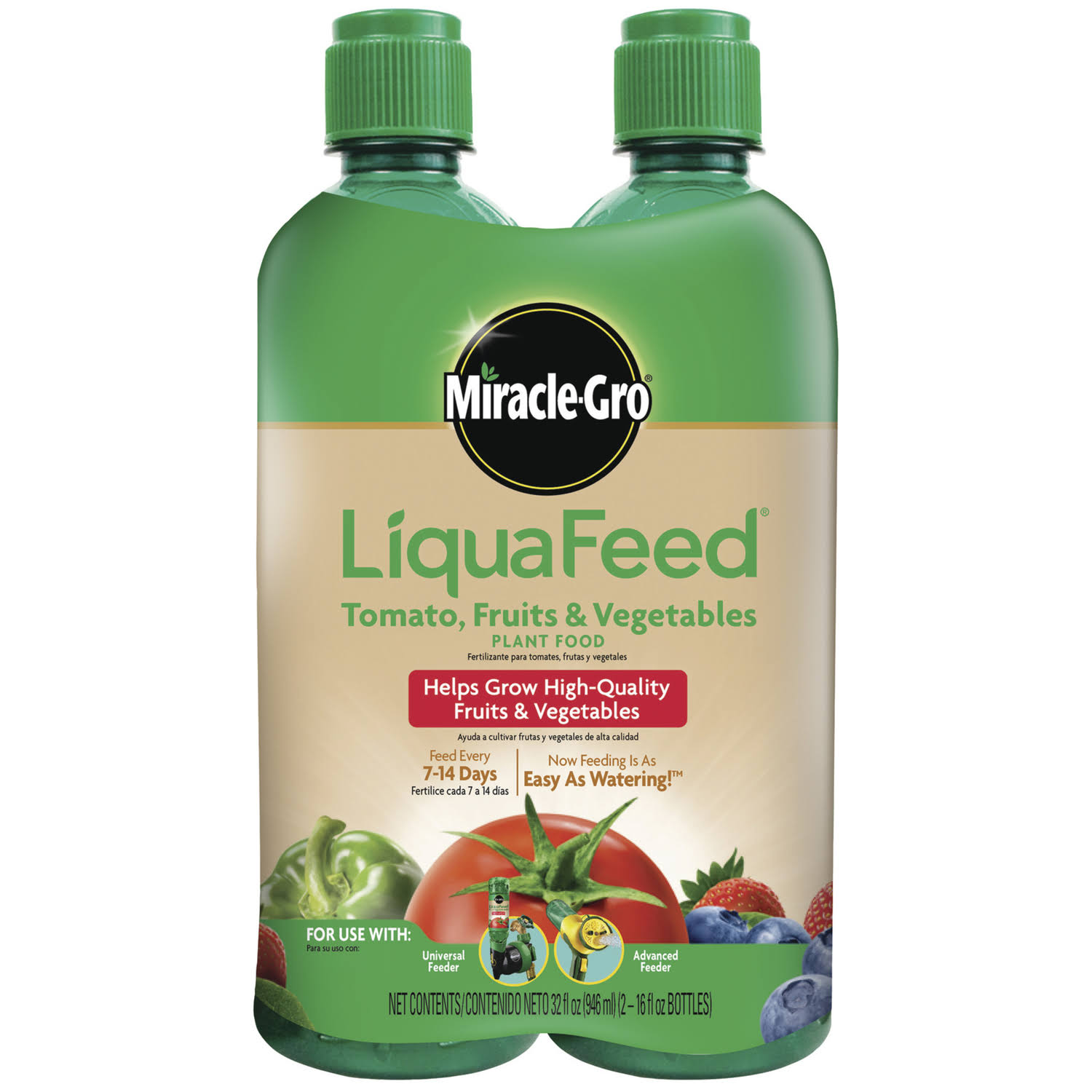 Miracle Gro Liqua Feed Tomato Fruits and Vegetables Plant Food Refill - 2pk