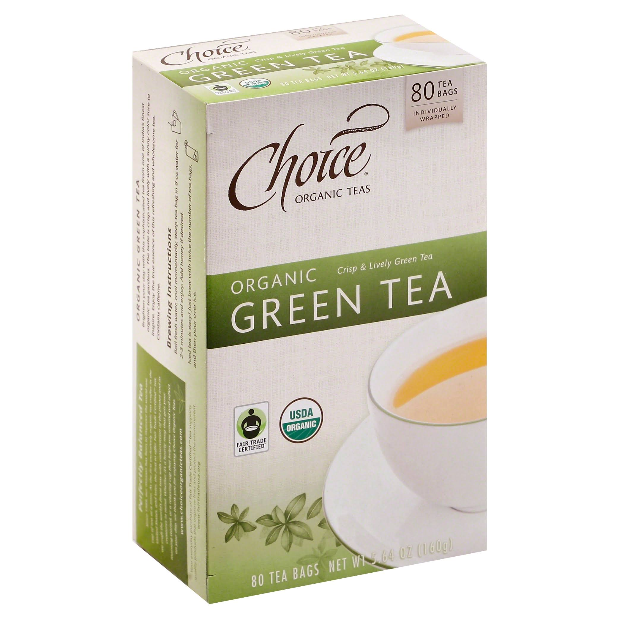 Choice Organic Teas Green Tea, Organic, Tea Bags - 80 bags, 5.64 oz
