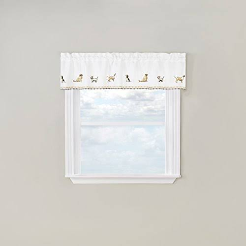 Renaissance Home Fashion Dogs Embroidered Valance 58 x 12 , Natural