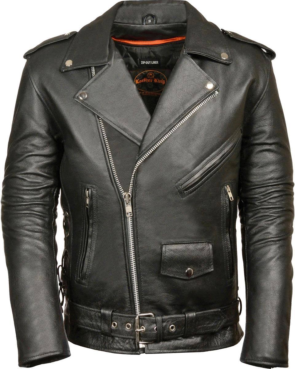 Leather King Men's Classic Side Lace Police Style Motorcycle Jacket - Large, Black