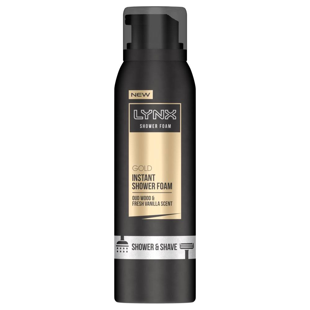 Lynx Shower Foam - Gold, Oud Wood and Vanilla Scent, 200ml