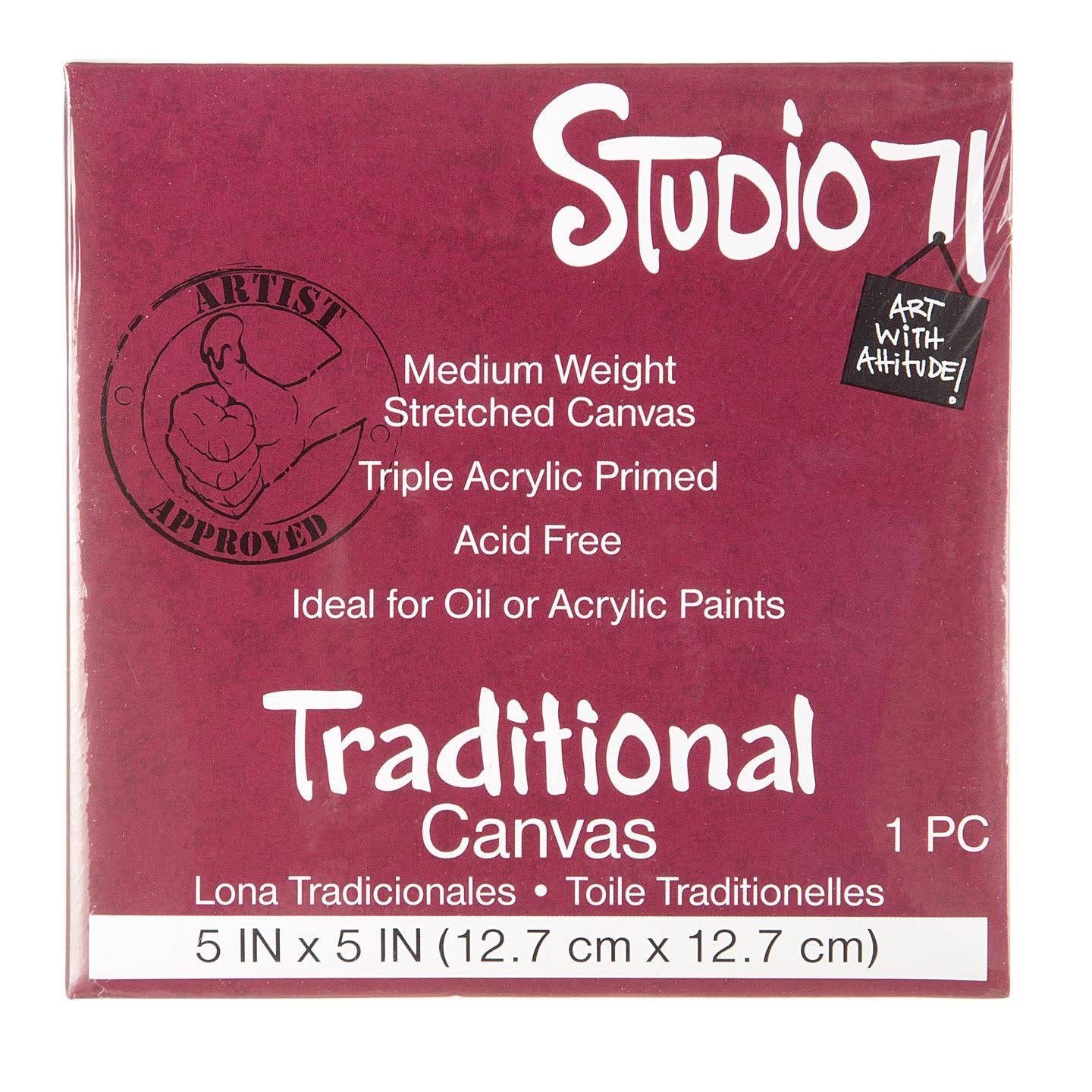 "Studio 71 Small Stretched Canvas Medium Weight Primed 5"" x 5"""