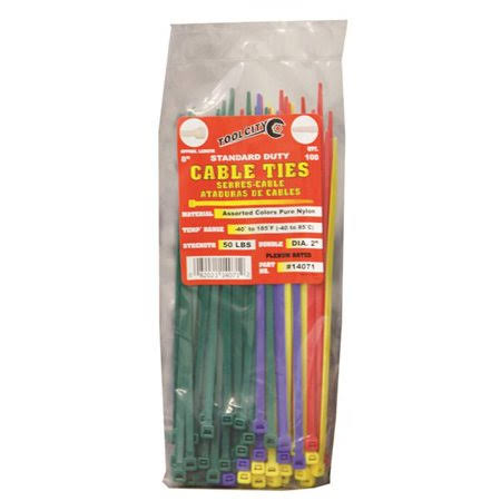 "Tool City 14071 Cable Tie - 8"", Assorted Colors, 100pk"