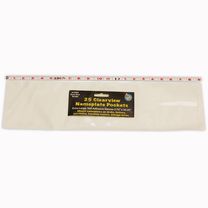 "Ashley Production Adhesive Nameplate Pockets - 25ct, X-Large, Clear, 5 3/4"" x 20"""