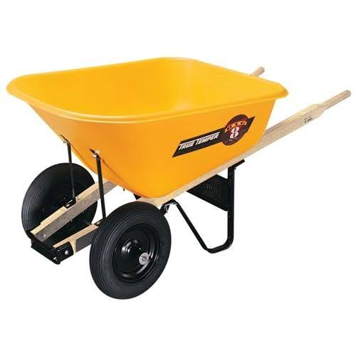 Ames True Temper Poly Tray Contractor Wheelbarrow - 8cu ft, Dual Wheel