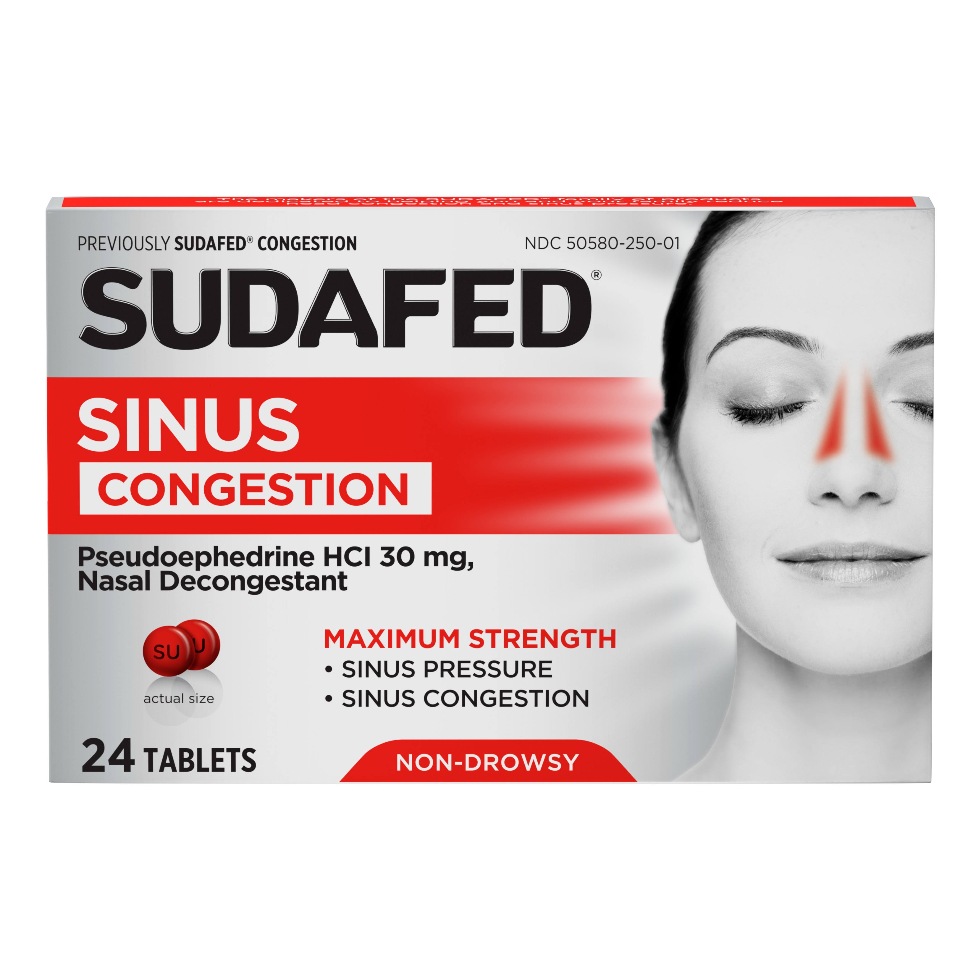 Sudafed Congestion Nasal Decongestant Tablets - 24ct, Non-Drowsy
