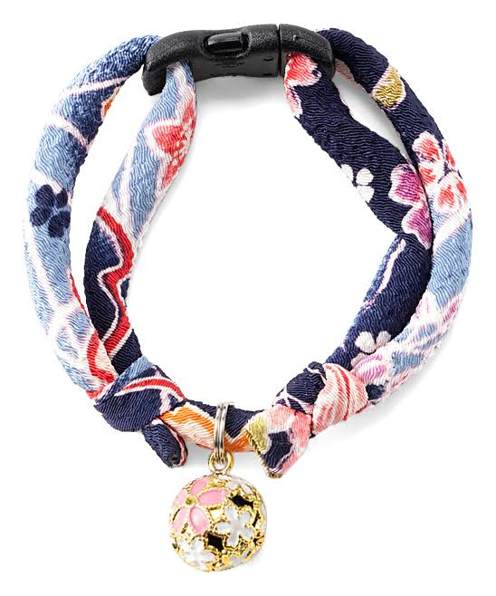 Necoichi Chirimen Sakura Cat Collar (Blue)