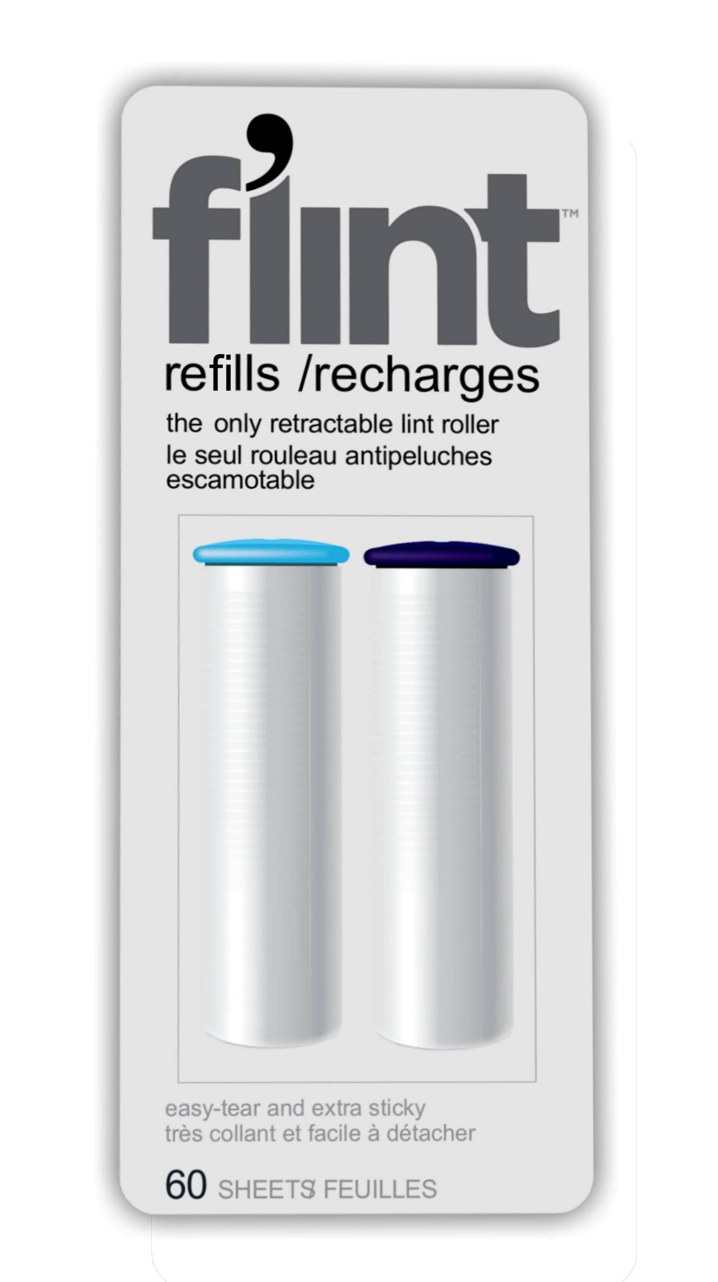 Flint Retractable Lint Roller Refills - 60 Sheets