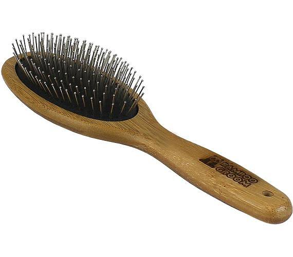 Paws & Alcott BG PB LG Large Bamboo Oval Pin Brush with Stainless Steel Pins - Tan & Black (Pack of 12)
