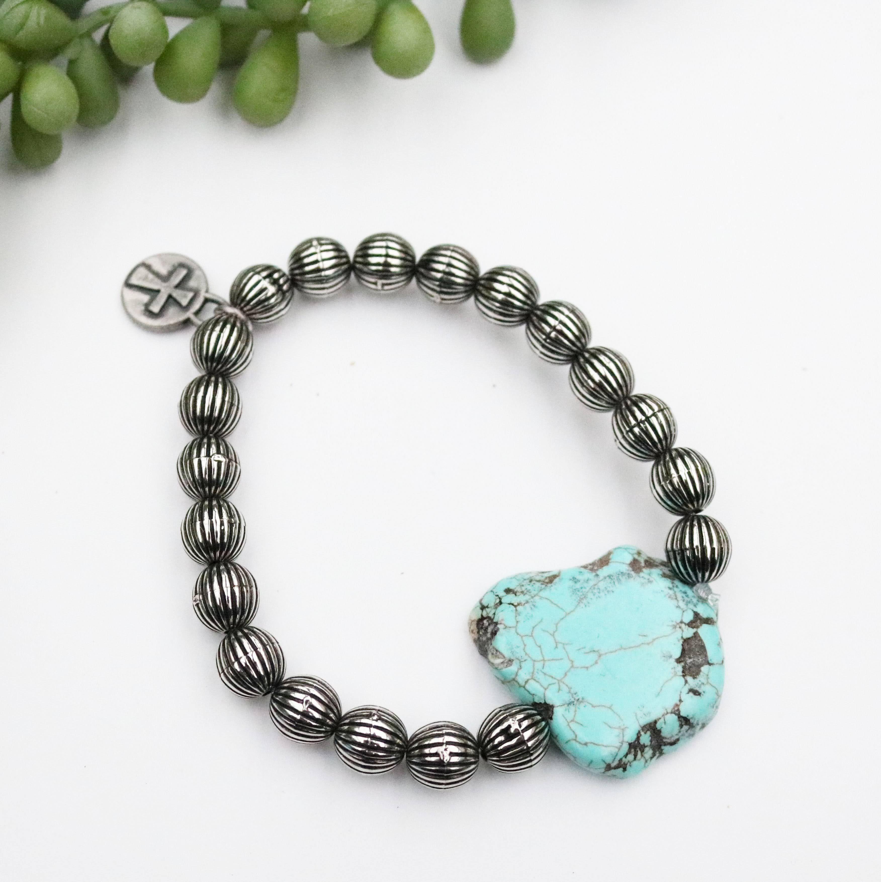 Ladies Melon Bead with Turquoise Slab Bracelet - BR509