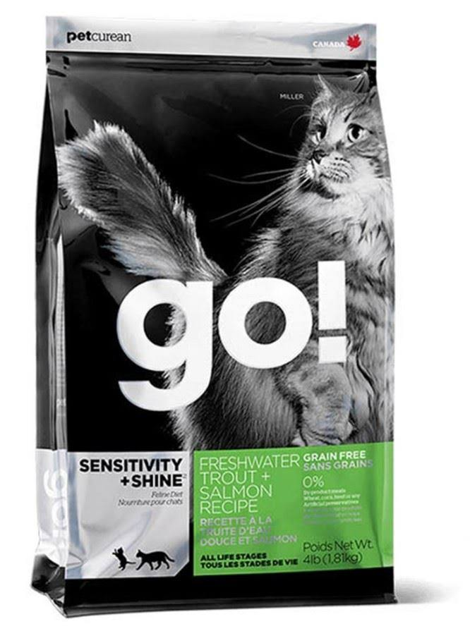 Petcurean Go! Sensitivity + Shine Grain Free Freshwater Trout & Salmon Recipe Cat Food - 4 lbs bag