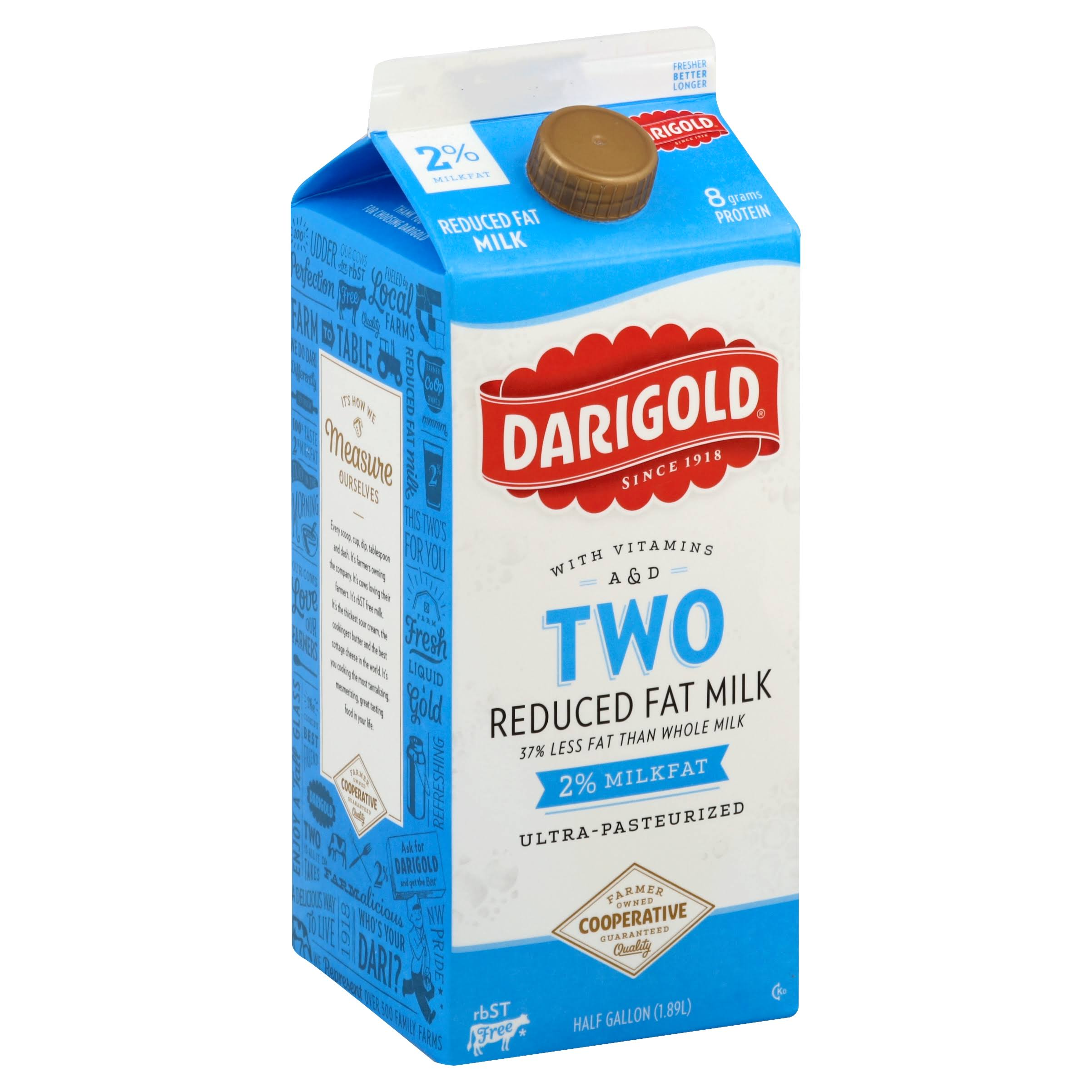 Darigold Two Reduced Fat Milk - 0.5 Gallon