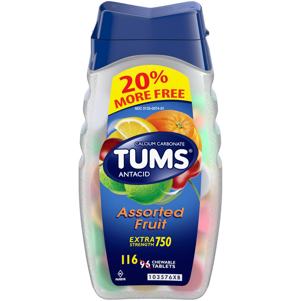 Tums Extra Strength Antacid and Calcium Supplement - Assorted Fruit, 116ct