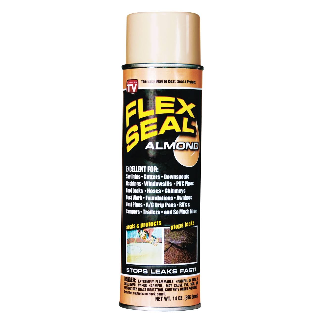 Flex Seal Spray On Sealant Weatherproof Caulking - Brown, 14oz