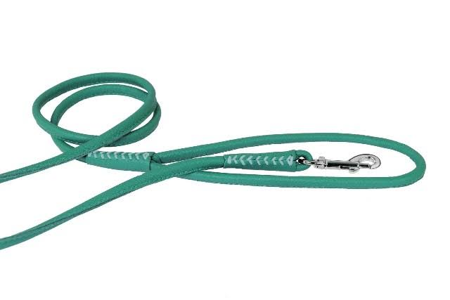 "Dogline Soft and Padded Rolled Round Leather Dog Leash - Teal, 3/8"" X 6'"