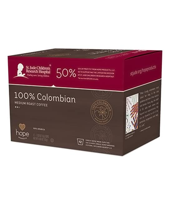 Hope Products Coffee, 100% Arabica, Medium Roast, 100% Colombian - 12 pack, 0.39 oz cups