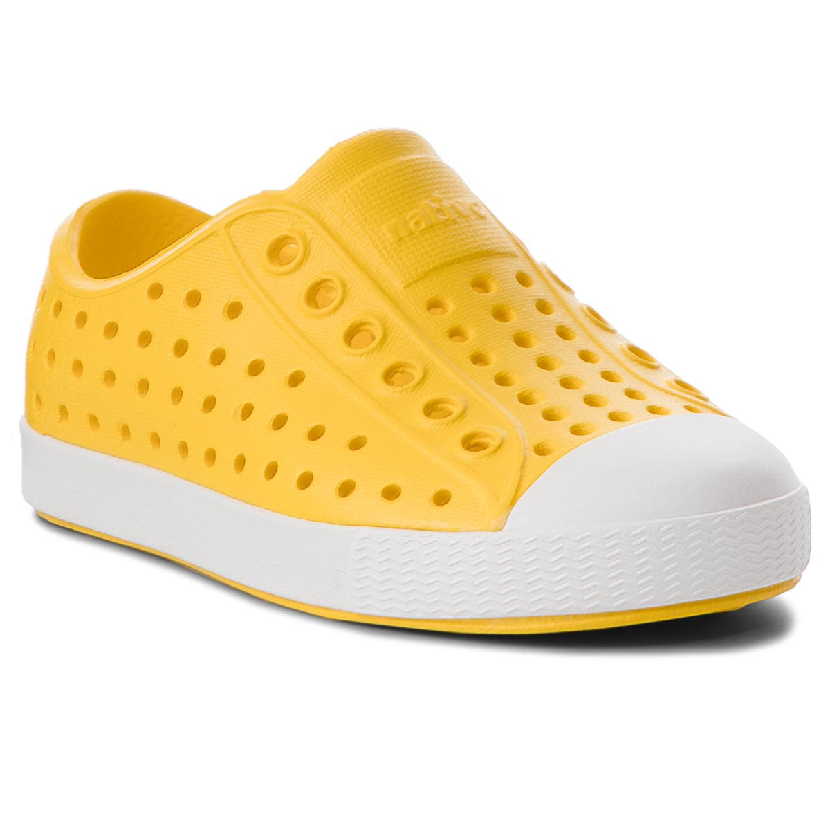 Native Little Kids' Crayon Yellow/Shell White Jefferson Shoes - 6