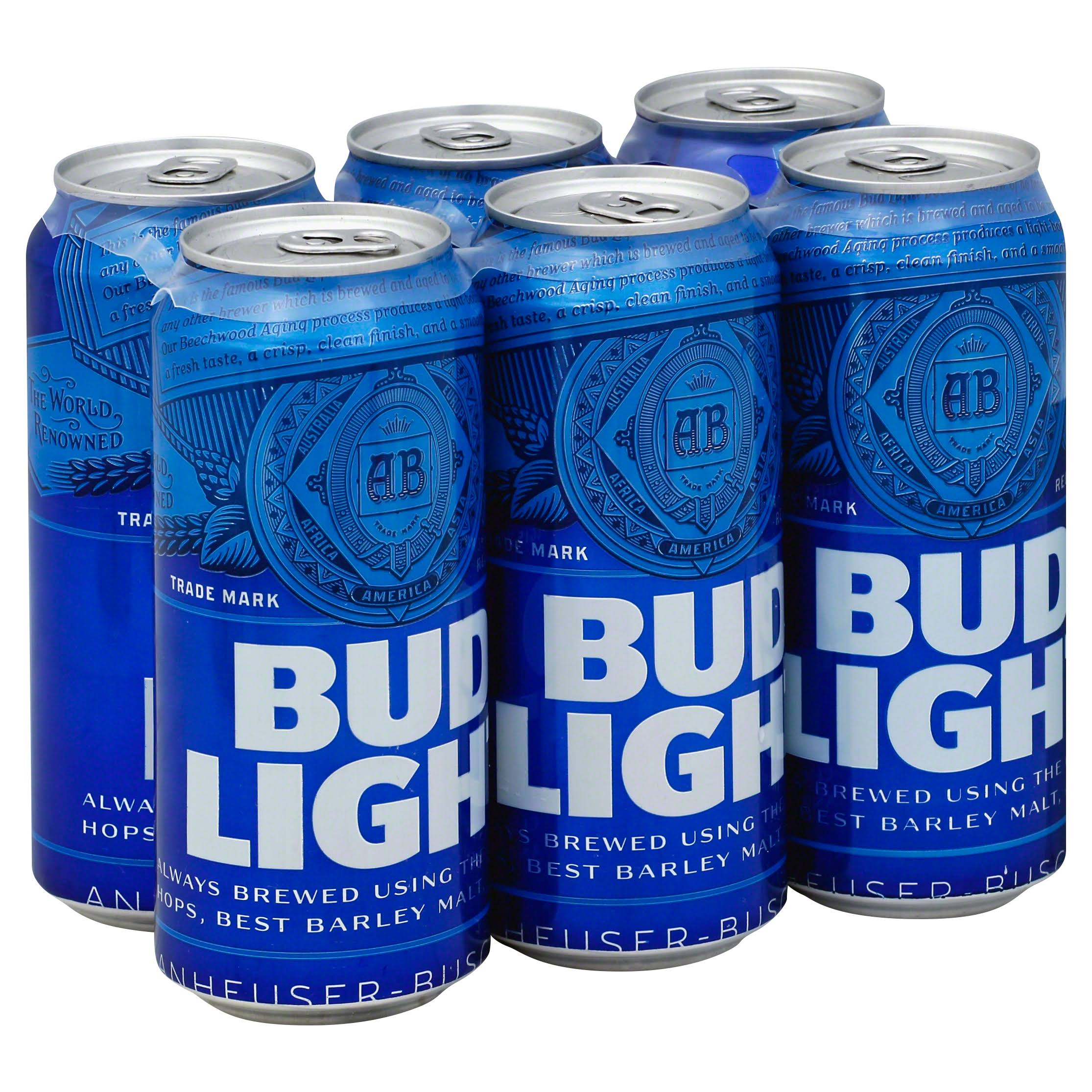 Bud Light Beer, Lager - 6 pack, 16 fl oz cans