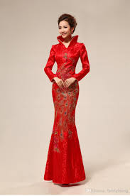 plus size red long traditional chinese wedding cheongsams dress