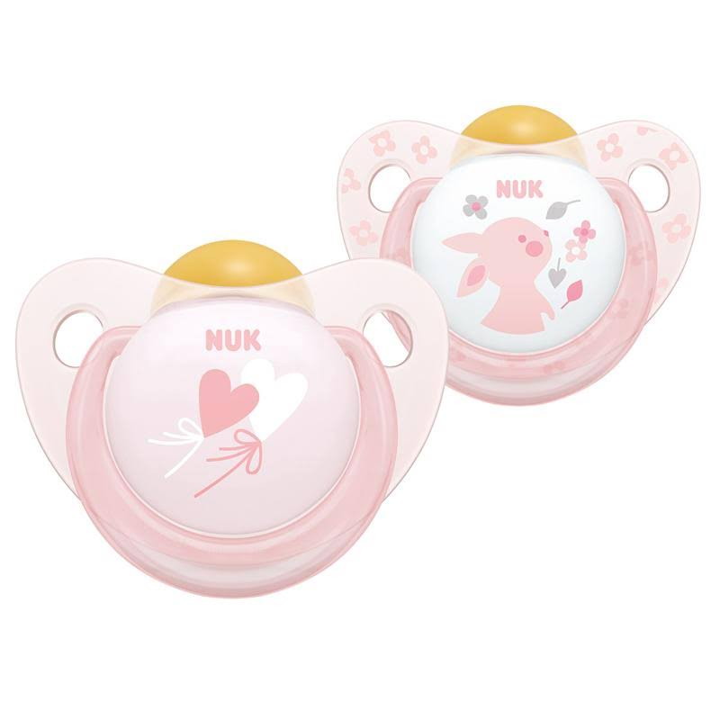 NUK Rose and Blue Latex Soothers Pink 6-18 Months