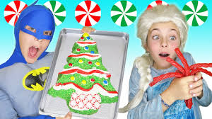 Rice Krispie Christmas Tree Cake by Chef Frozen Elsa Batman How To Make Rice Krispy Christmas Tree