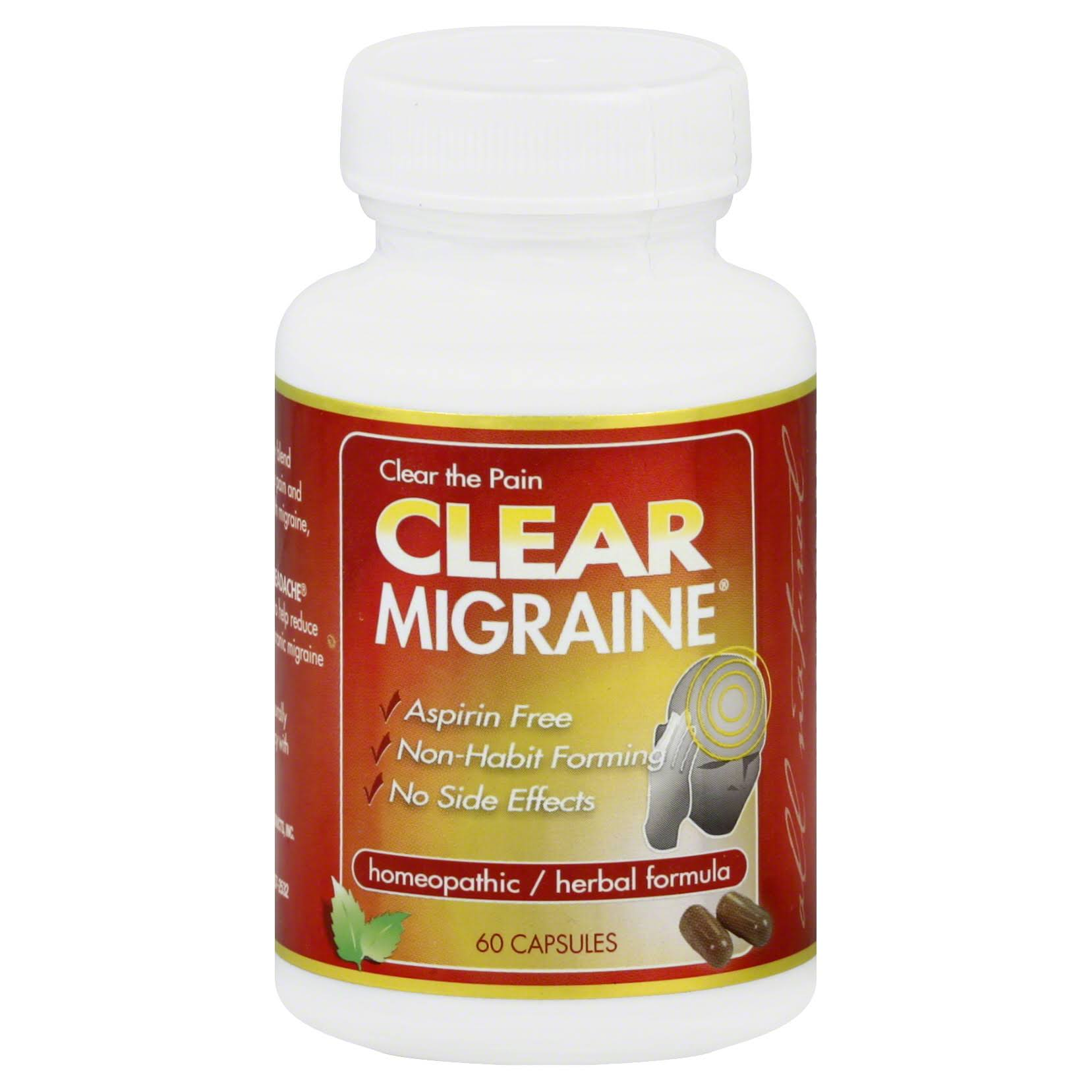 Clear Products Homeopathic Formula Migraine Capsules - 60 Count