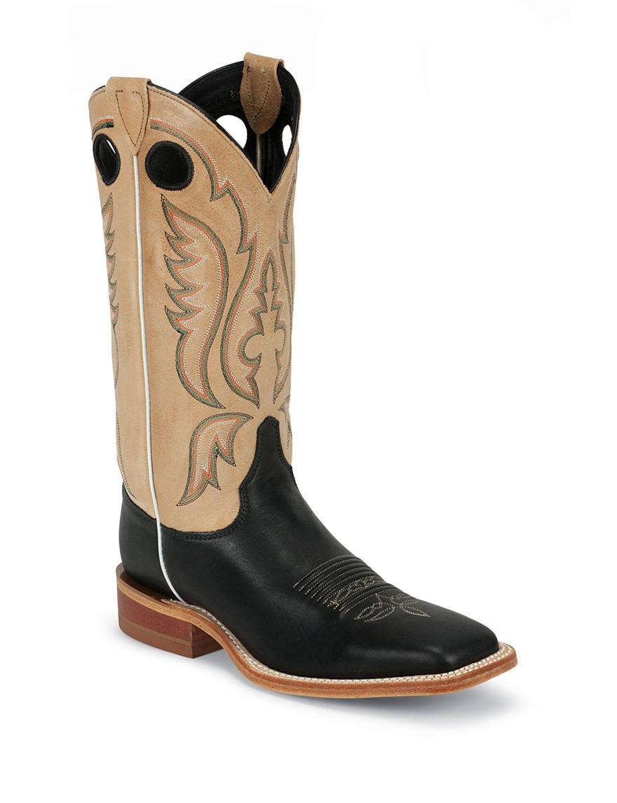 "Justin Mens Bent Rail Western Boots - Black and Brown, 13"", 8.5 US"