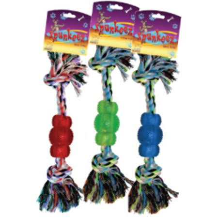 Spunkeez Dog Toys Rope w-Nubby Chew - Case of 24
