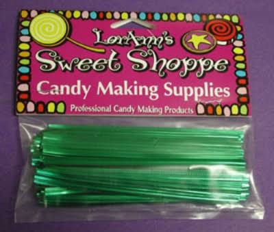 Lorann Candy Lollipop Bread Bags Twist Ties - Green Metallic, 50pk