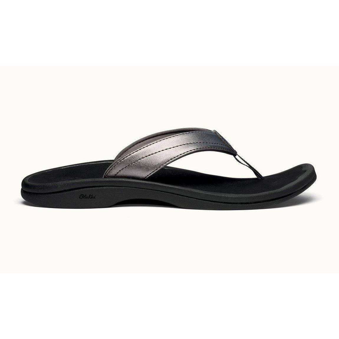 Olukai Ohana Sandals - Women's Pewter/Black / 8