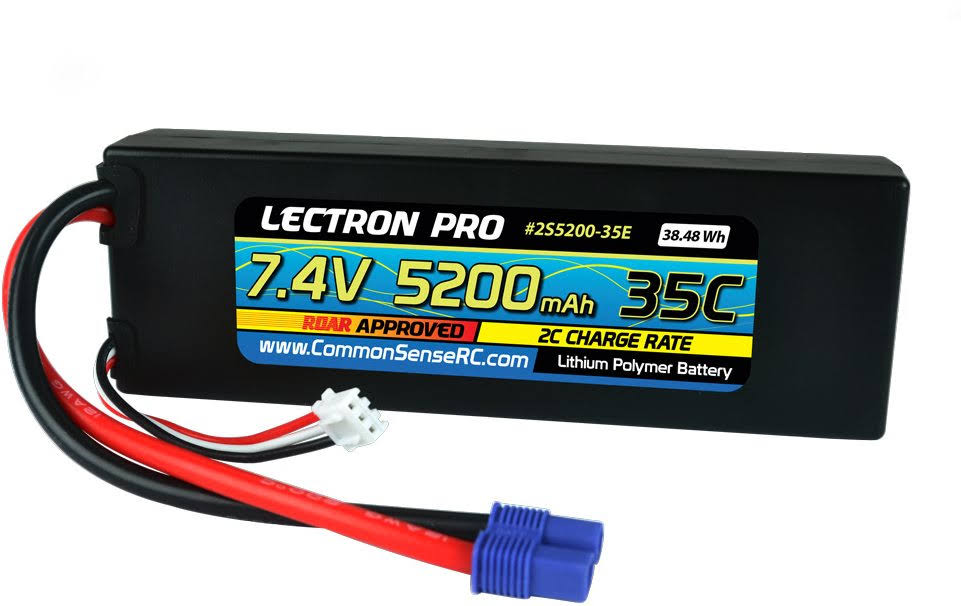 Lectron Pro Lithium Polymer Batteries - 7.4V, 5200mah, 35c