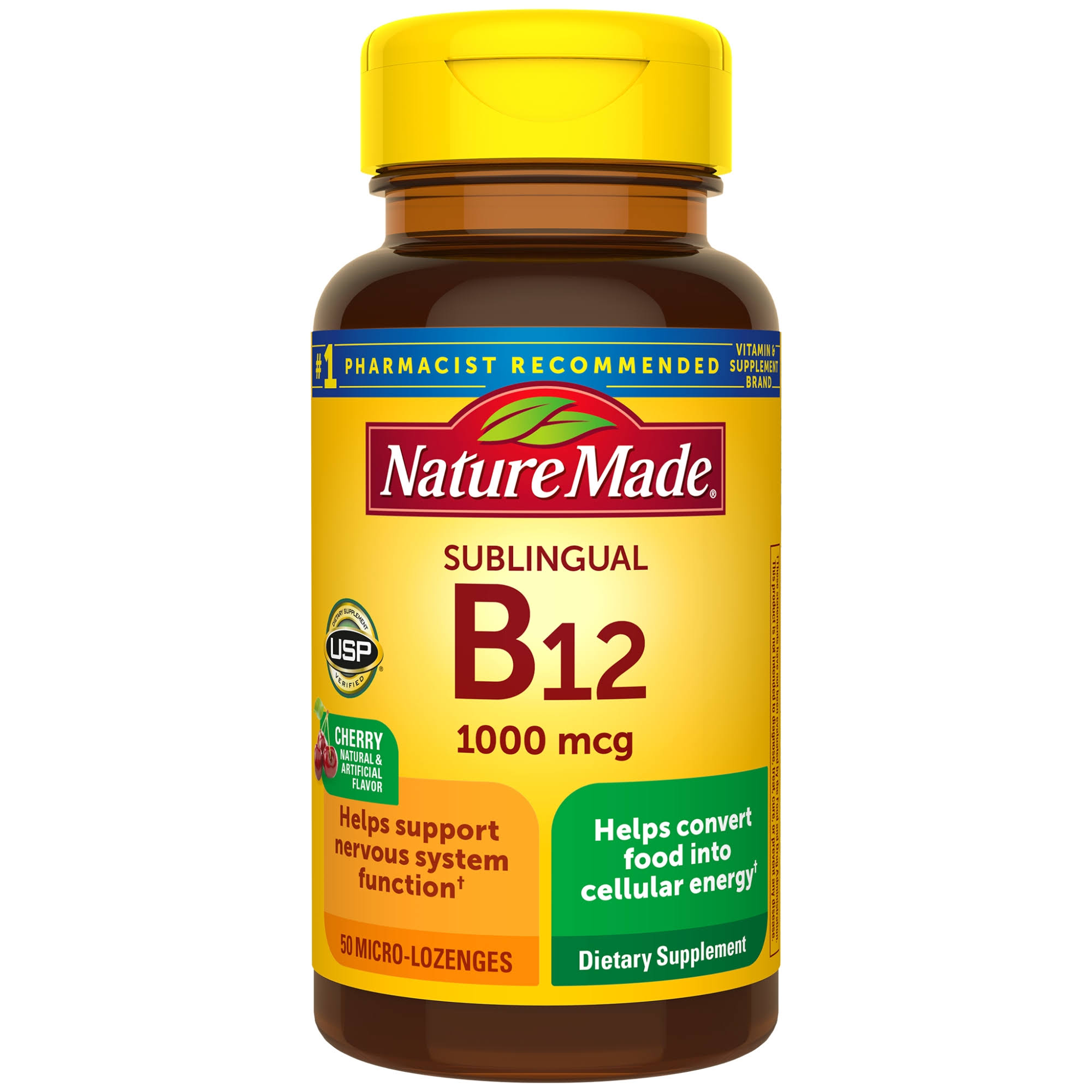 Nature Made Sublingual Vitamin B-12 Supplement - 1000mcg, Cherry, 50 Micro-Lozenges