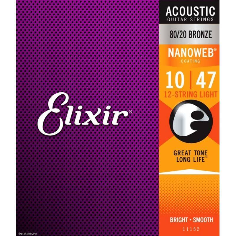Elixir Strings 11152 Nanoweb Light Acoustic Guitar Strings - 80/20 Bronze, 12-String