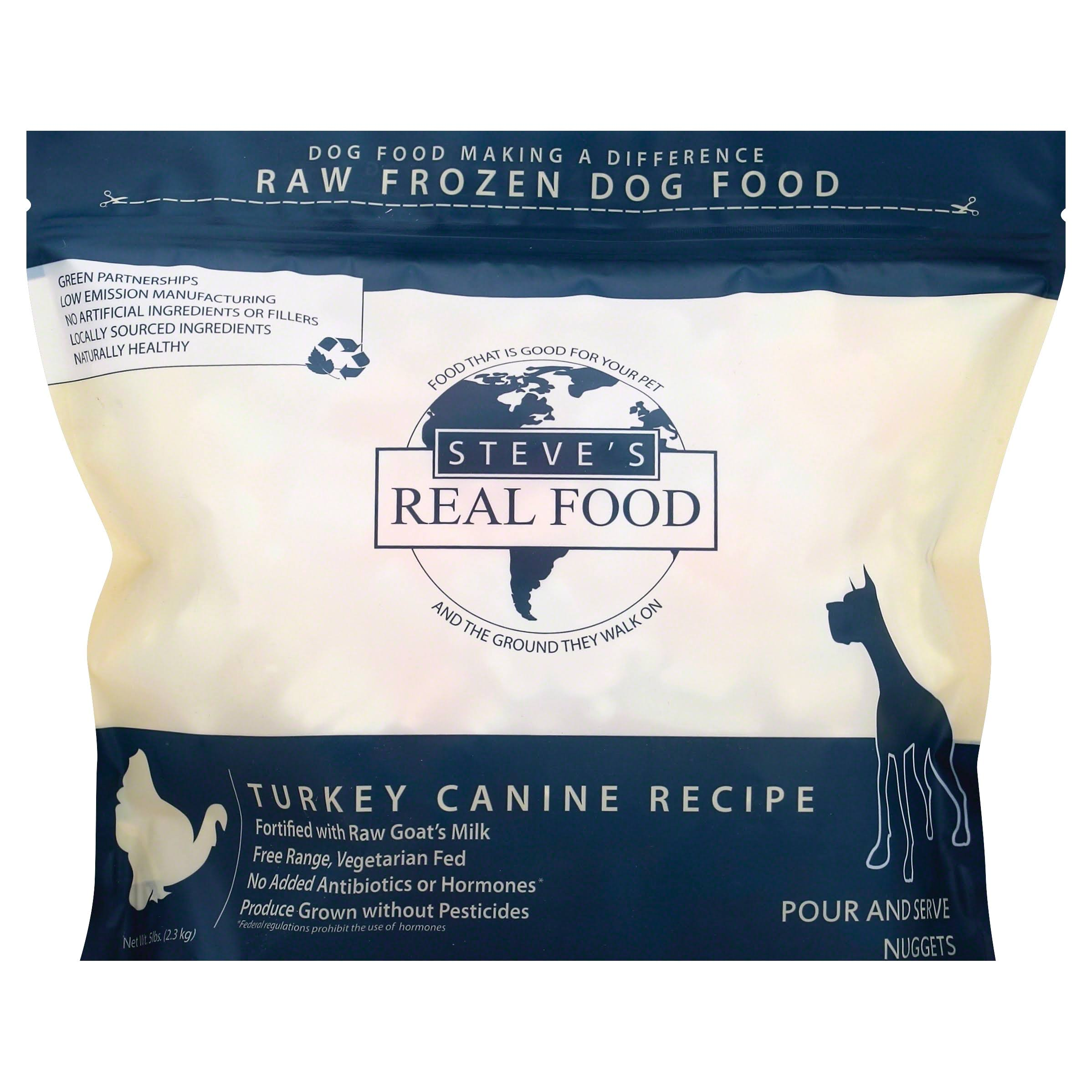 Steves Real Food Dog Food, Raw Frozen, Turkey Canine Recipe, Pour and Serve Nuggets - 5 lb