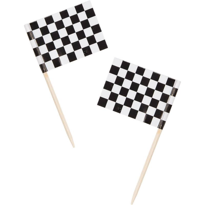 Creative Converting Check Flag Picks - White, Black