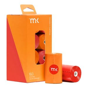 Modern Kanine Poop Bags 160ct Orange Coral