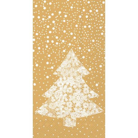 Ideal Home Range 4 Packs Paper Guest TOWELS/CHRISTMAS Lace Gold
