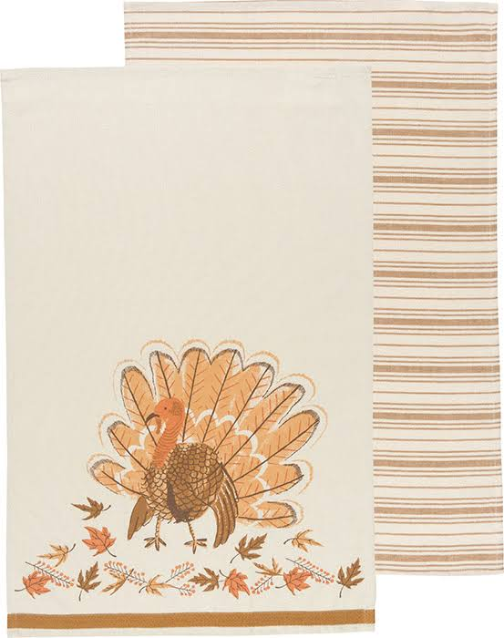 Now Designs Country Turkey and Striped Tea Towel - Set of 2