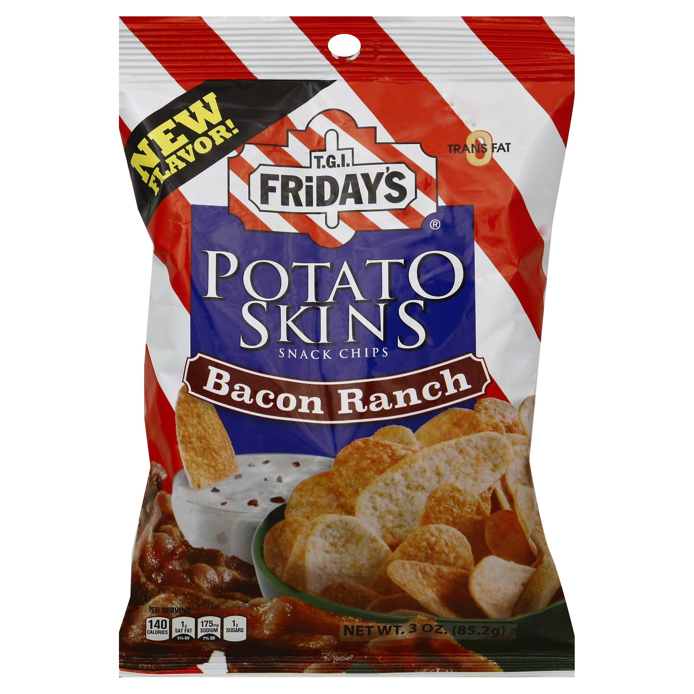 Tgi Fridays Potato Skins Snack Chips - Bacon Ranch, 3oz