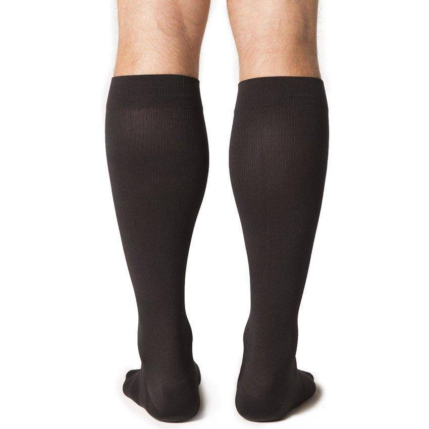 SIGVARIS Midtown Microfiber Knee High Compression Men's Socks - Black, 20-30mmhg, Medium-Large