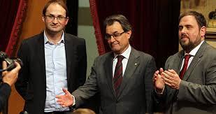 Líderes de los grupos que apoyaron la Declaración de soberanía en el Parlament catalán