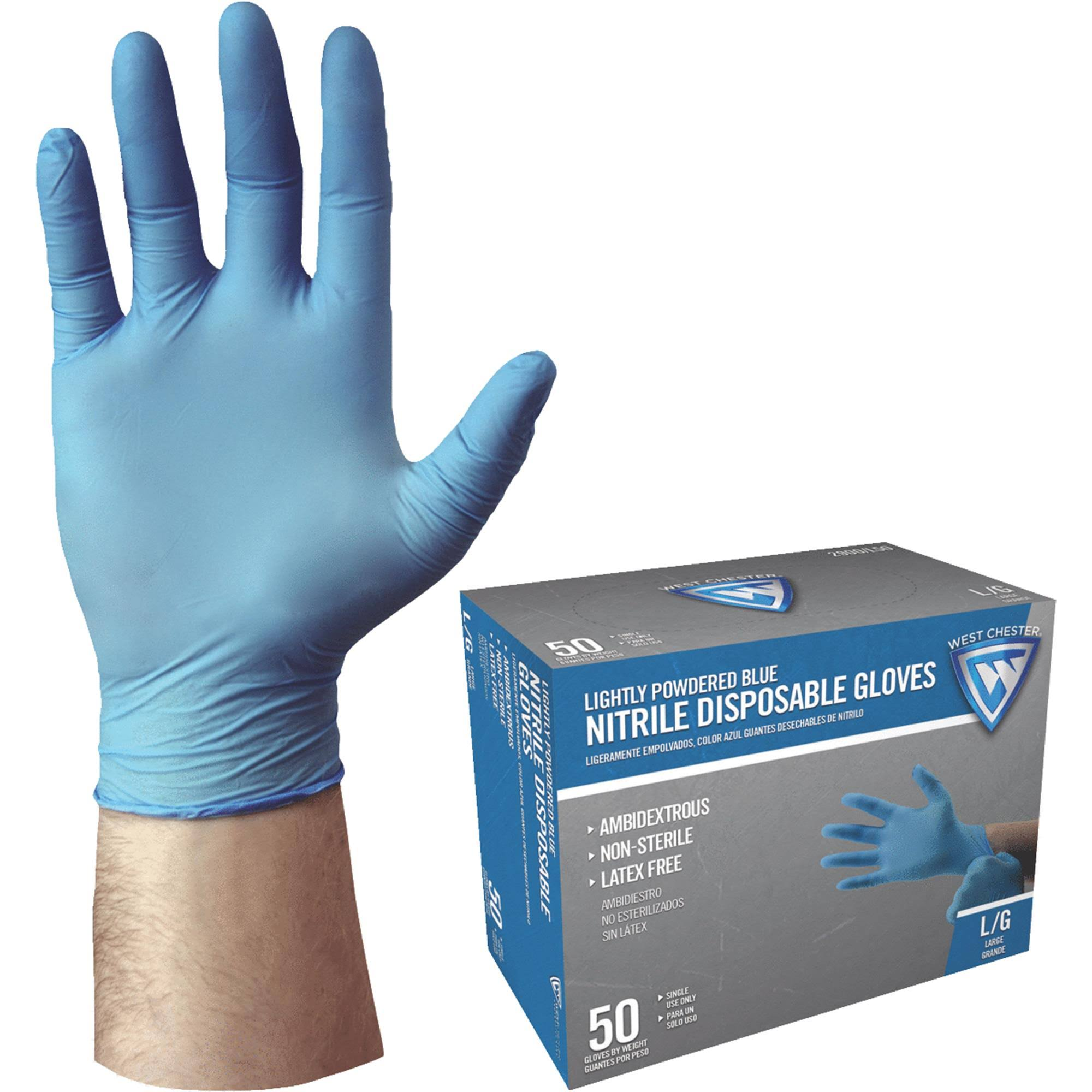 West Chester Nitrile Disposable Glove - Blue, Large