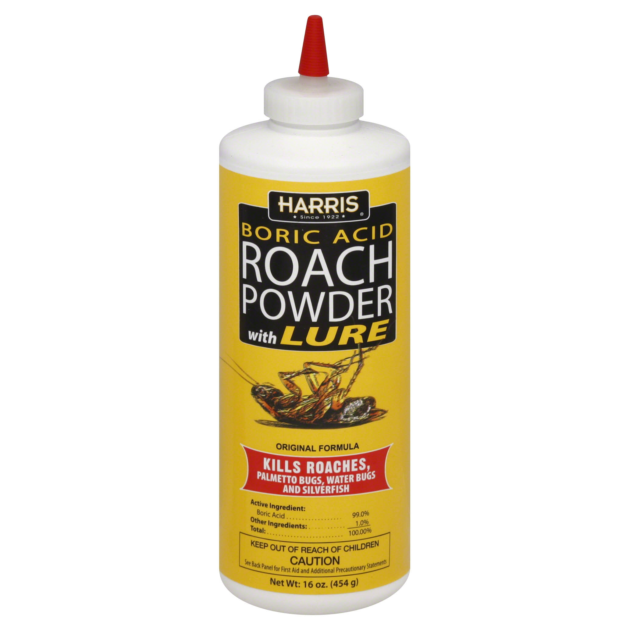 Harris Boric Acid Roach Powder Insect Killer - with Lure, 16oz