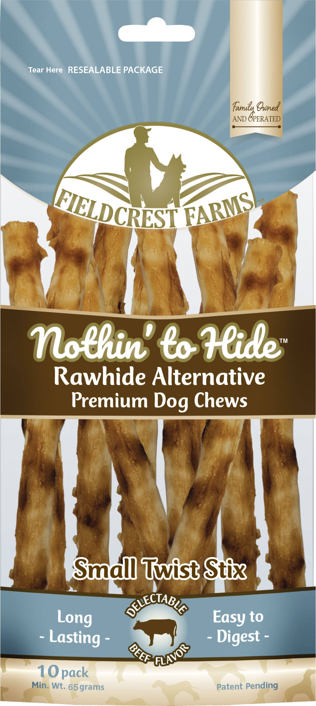 Fieldcrest Farms Nothin' To Hide Rawhide Alternative Small Twist Stix - 10 Pack, 65g