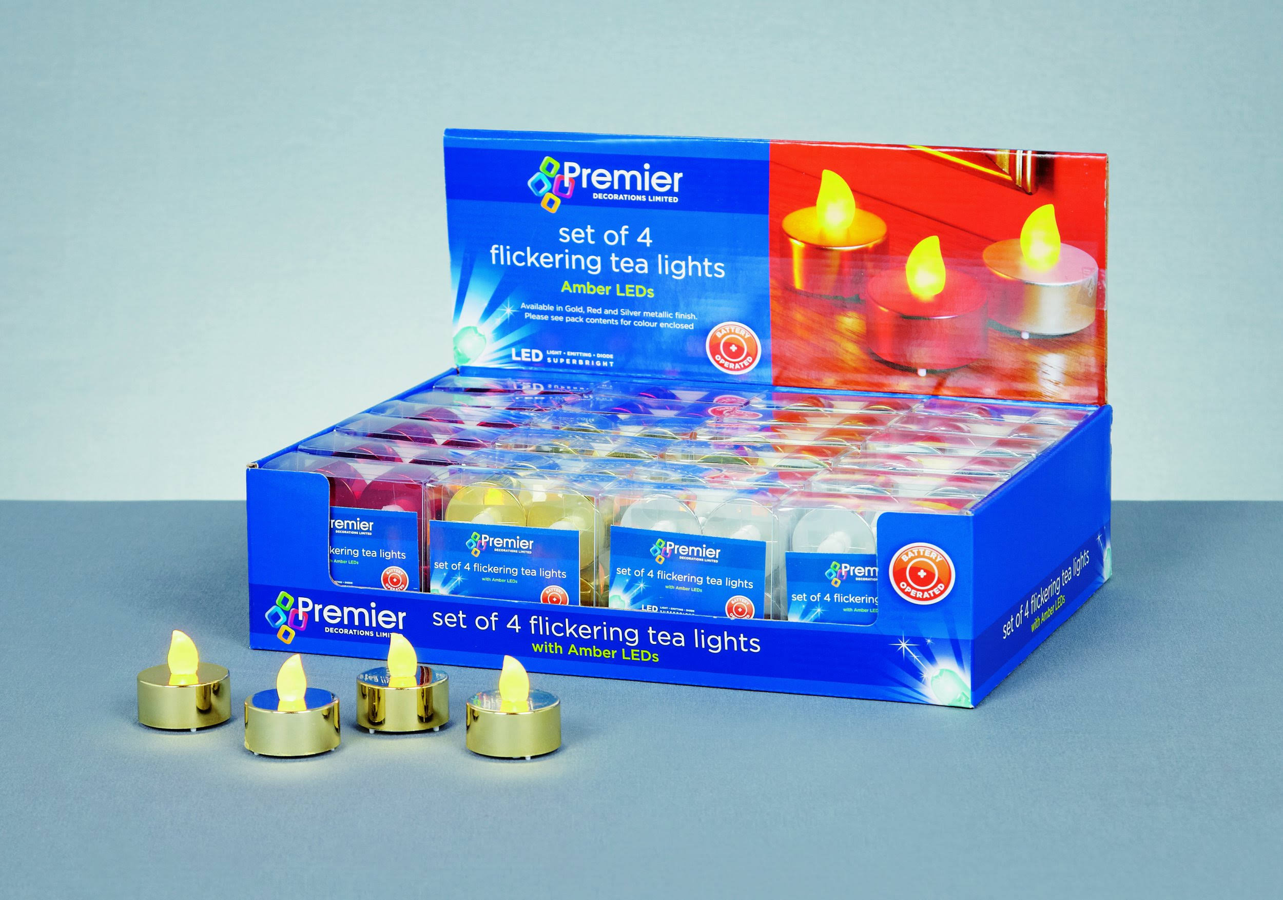 Premier 4 Pack Tea Lights - Battery Operated