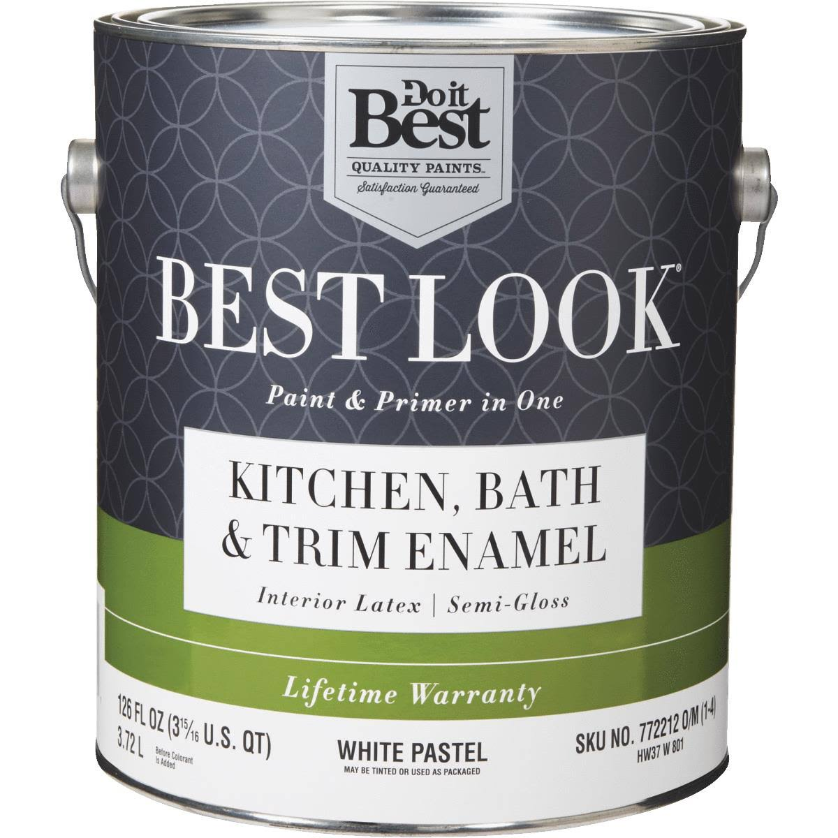 - HW37W0801-16 Best Look Latex Paint & Primer in One Kitchen Bath & Trim Semi-Gloss Interior Wall Paint