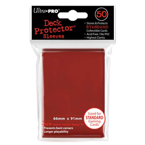Ultra Pro Standard Deck Protector Sleeves - Red, 50ct