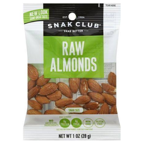 Snak Club Almonds, Raw, Snak Size - 1 oz